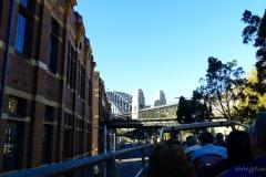 Sydney-Australia Harbour Bridge from double decker bus